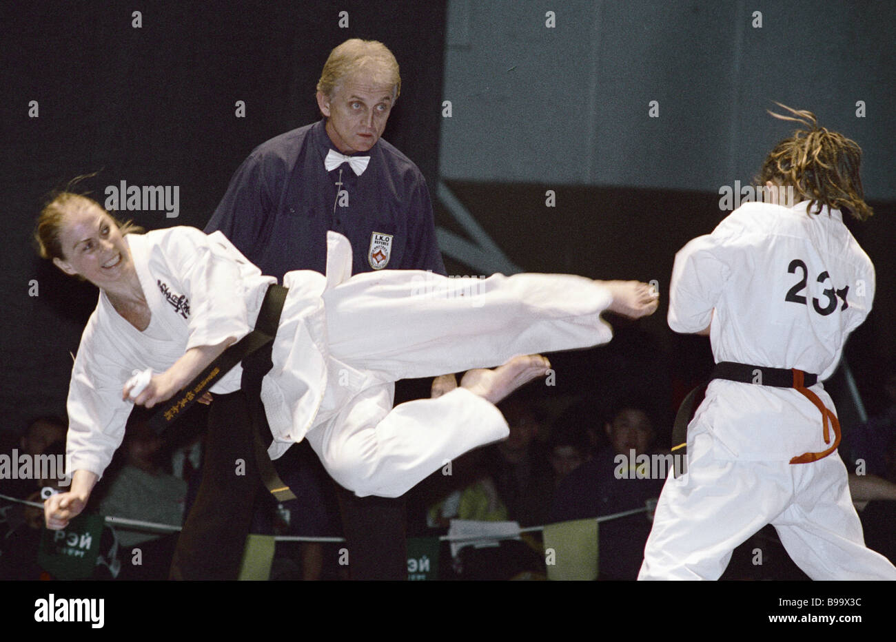 A bout of the 3rd International Kiokusinkai karate tournament Russian Open Cup 2002 - Stock Image