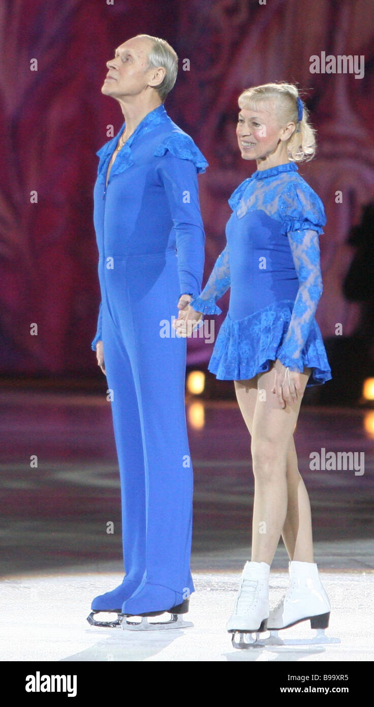 Famous Russian figure skaters Lyudmila Belousova and Oleg Protopopov at the figure skating show Tatyana Tarasova - Stock Image