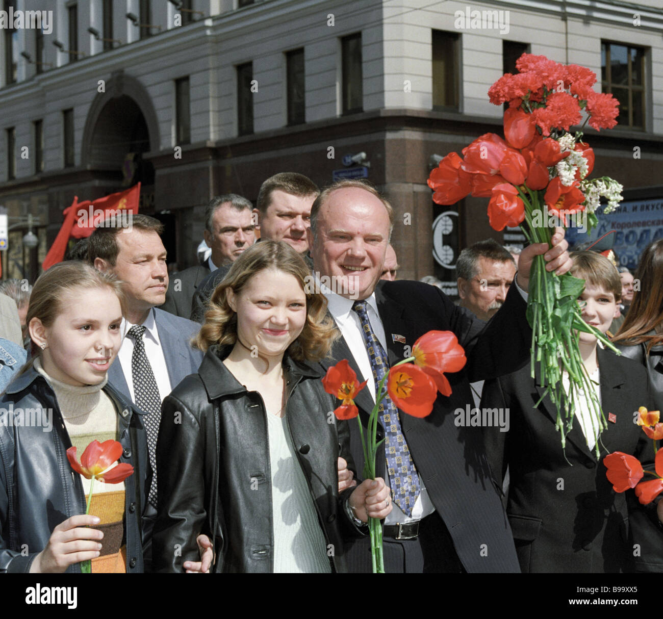 The Russian Communists leader Gennady Zyuganov marching together with other demonstrators on the 56th V Day - Stock Image