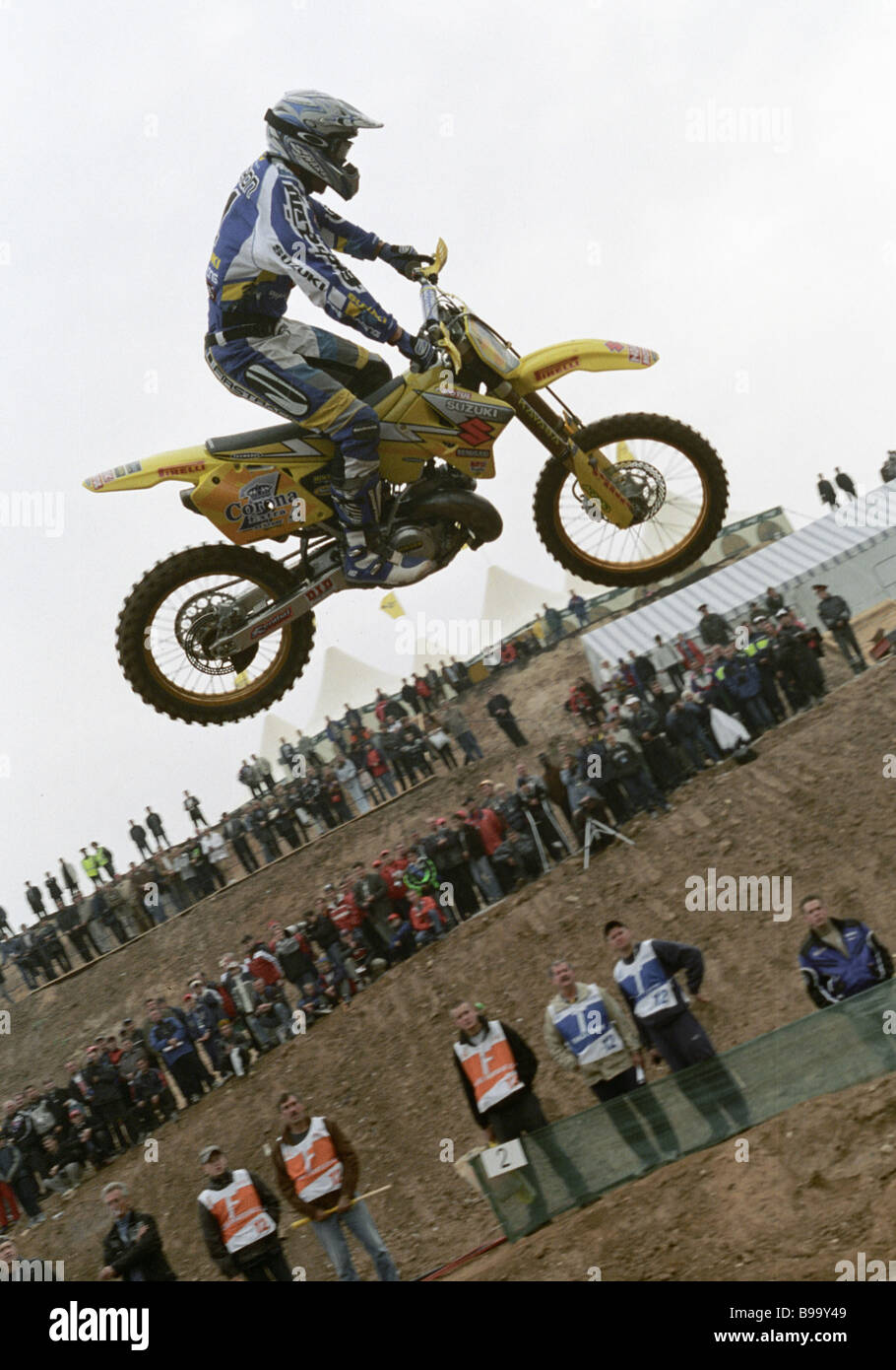 Frenchman Mickael Pichon takes part in finals of motocross championship - Stock Image