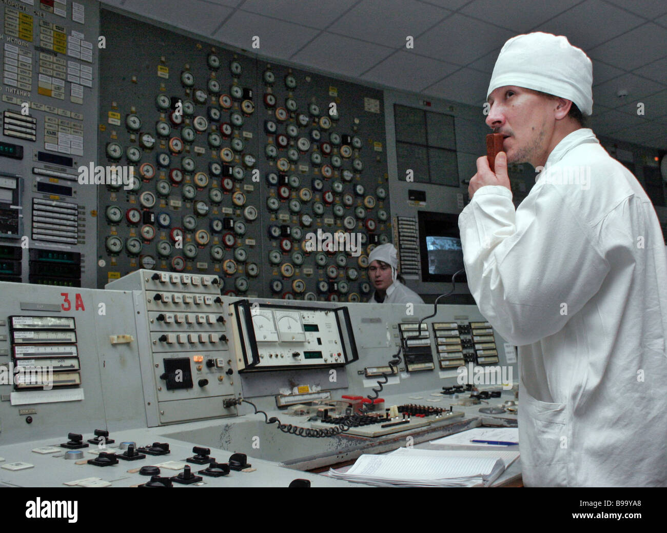 Control room of Chernobyl nuclear power plant s No 1 power unit - Stock Image