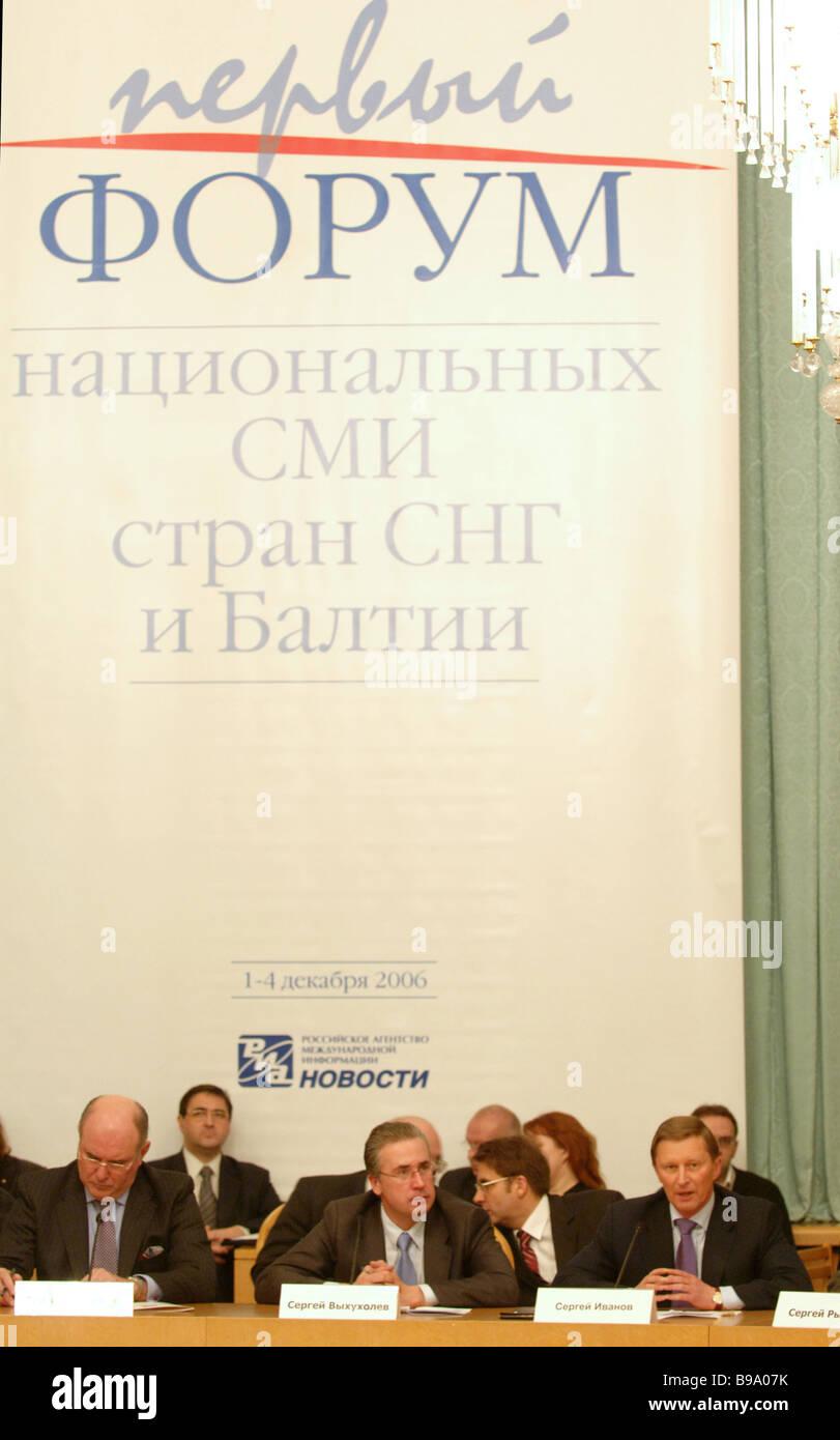 Deputy Foreign Minister Grigory Karasin RIA Novosti First Deputy Editor in Chief Sergei Vykhukholev Deputy Prime - Stock Image