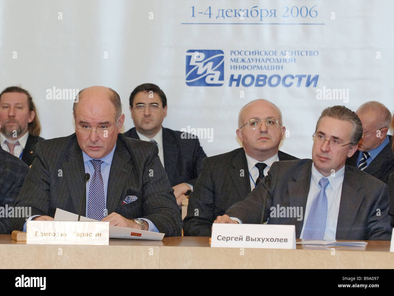 Deputy Foreign Minister Grigory Karasin and RIA Novosti First Deputy Editor in Chief Sergei Vykhukholev foreground - Stock Image