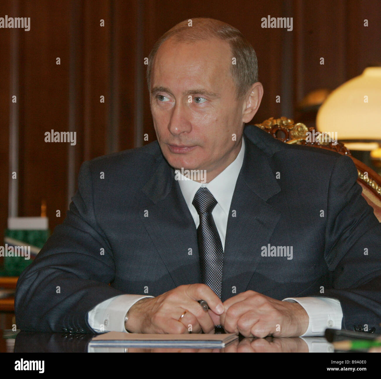 Russian President Vladimir Putin in the Kremlin during conference with the federal Security Council - Stock Image