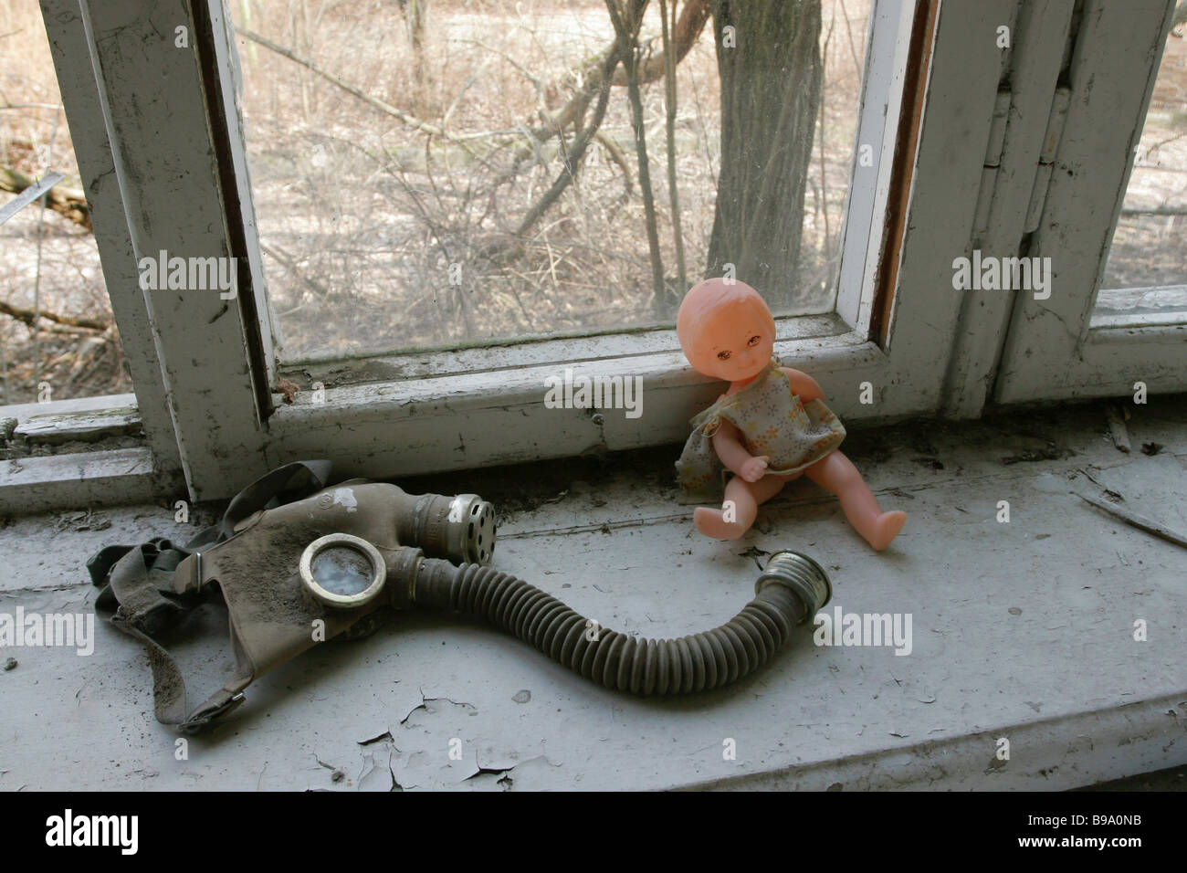 An abandoned kindergarten in Pripyat a town close to the Chernobyl nuclear plant which was urgently evacuated after - Stock Image