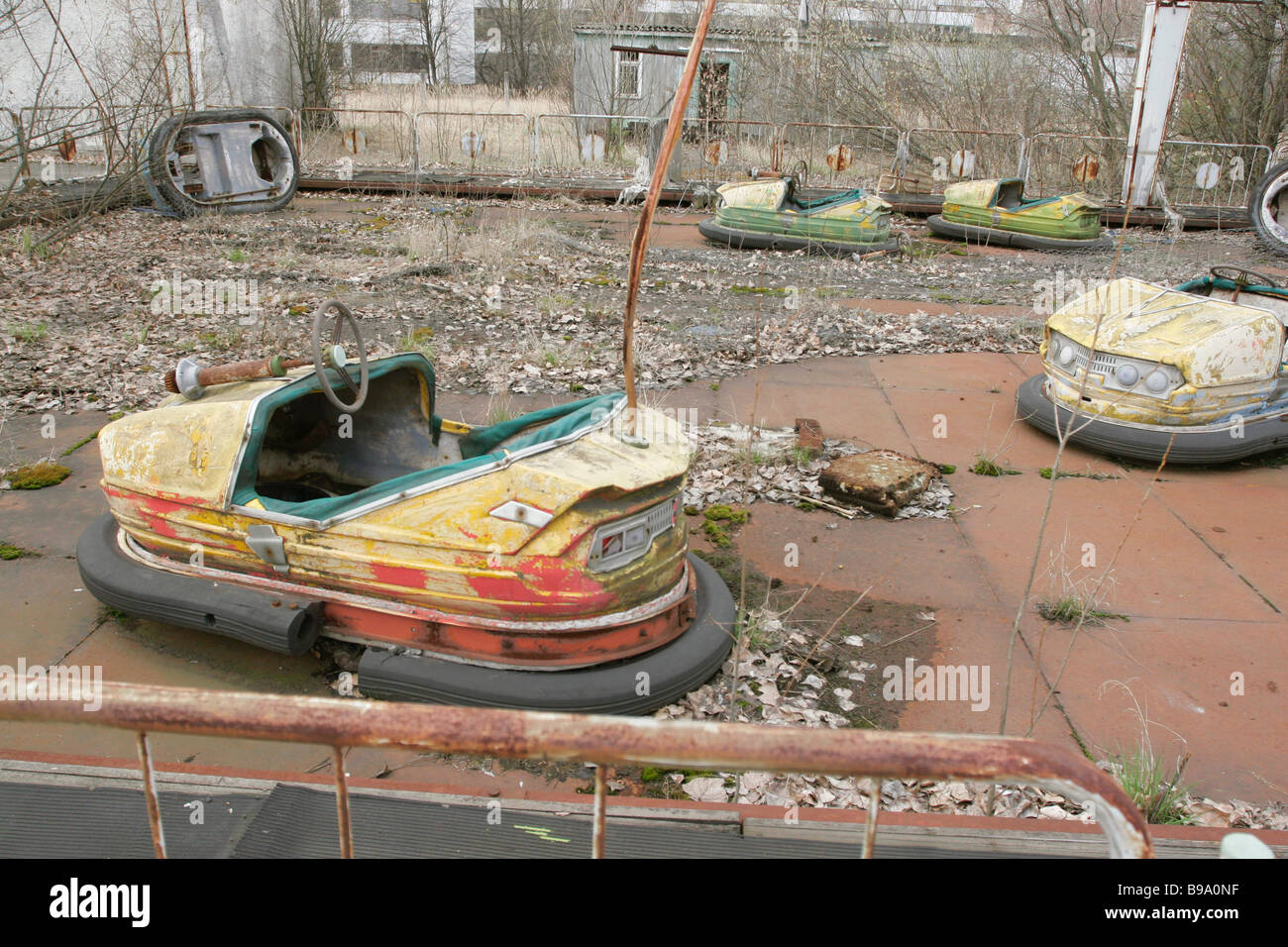 An abandoned merry go round in the park of Pripyat a town close to the Chernobyl nuclear plant which was urgently Stock Photo