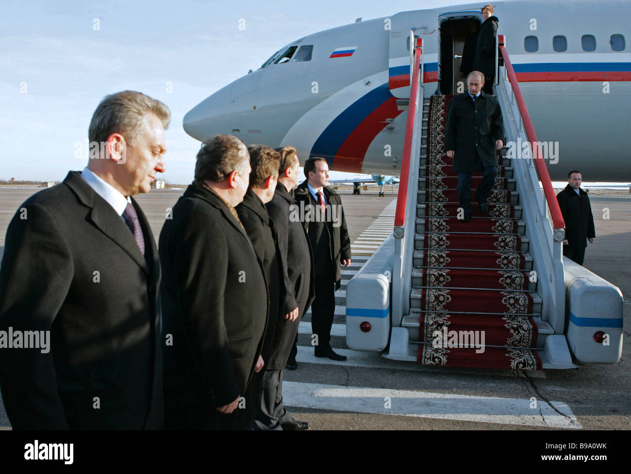 Russian President Vladimir Putin on the stairway upon arrival in the Volgograd airport - Stock Image
