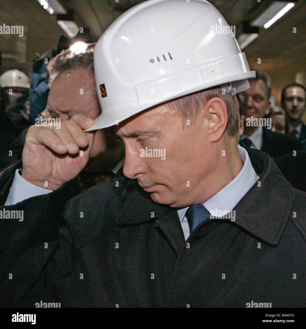 Russian President Vladimir Putin visiting Volgograd The President at the Volzhsky Pipe Works - Stock Image