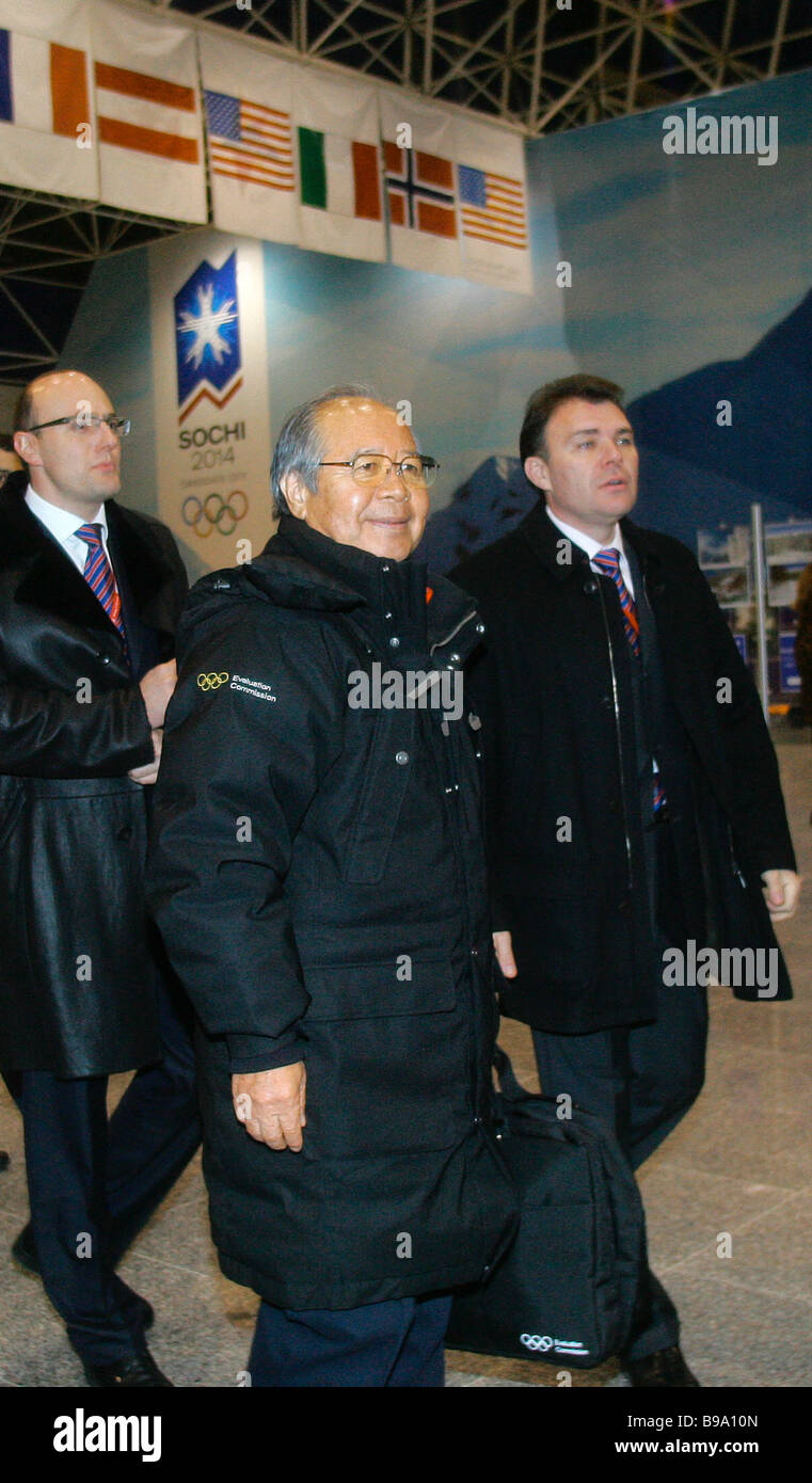 IOC evaluation commission members upon arrival in the airport of Sochi on the Russian Black Sea coast which is bidding - Stock Image