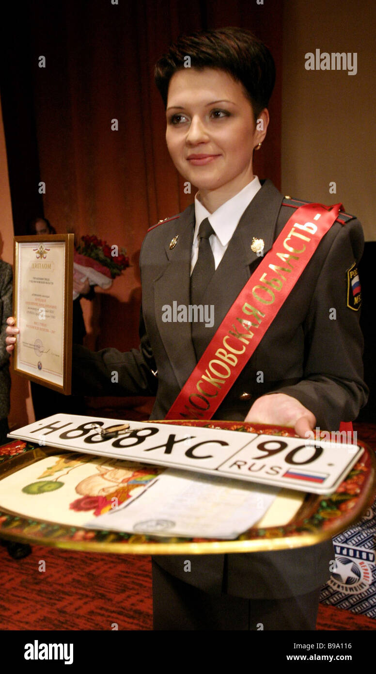 Winner of the Traffic Police Miss title Valentina Bobkova - Stock Image