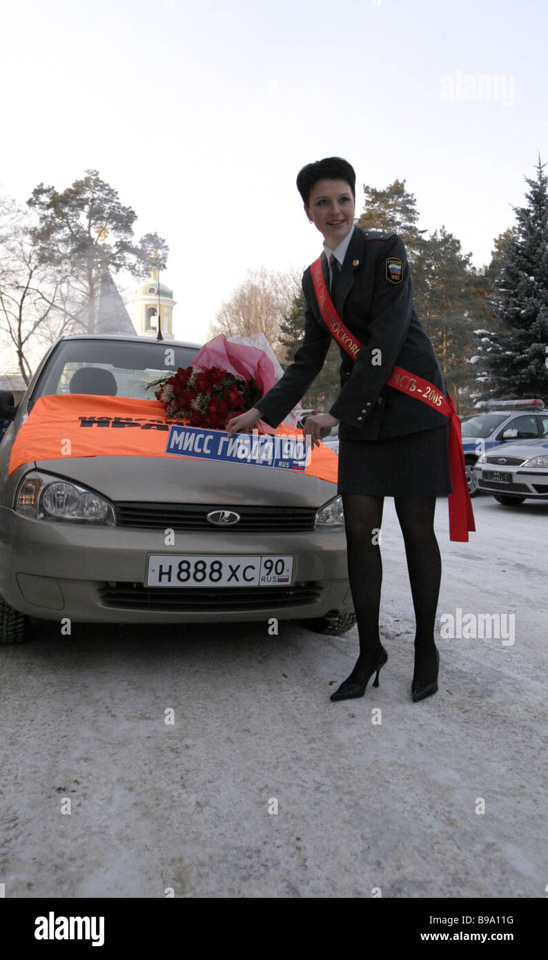 Winner of the Traffic Police Miss title Valentina Bobkova was presented with the Kalina automobile - Stock Image