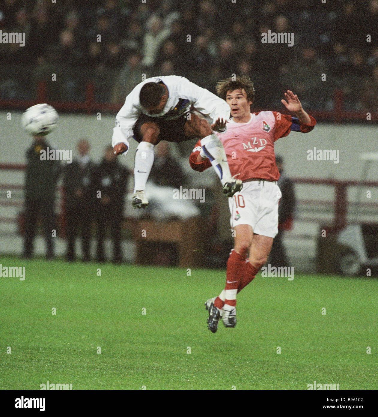 A moment of a football match between Lokomotiv and Inter teams - Stock Image