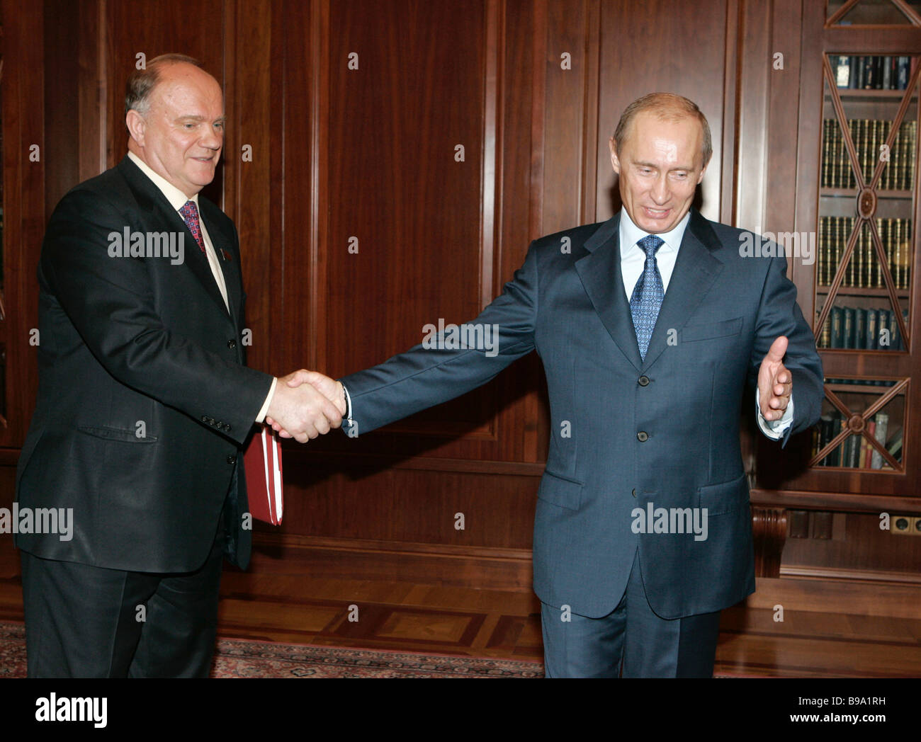 Communist Leader Gennady Zyuganov And Russian President Vladimir Stock Photo Alamy