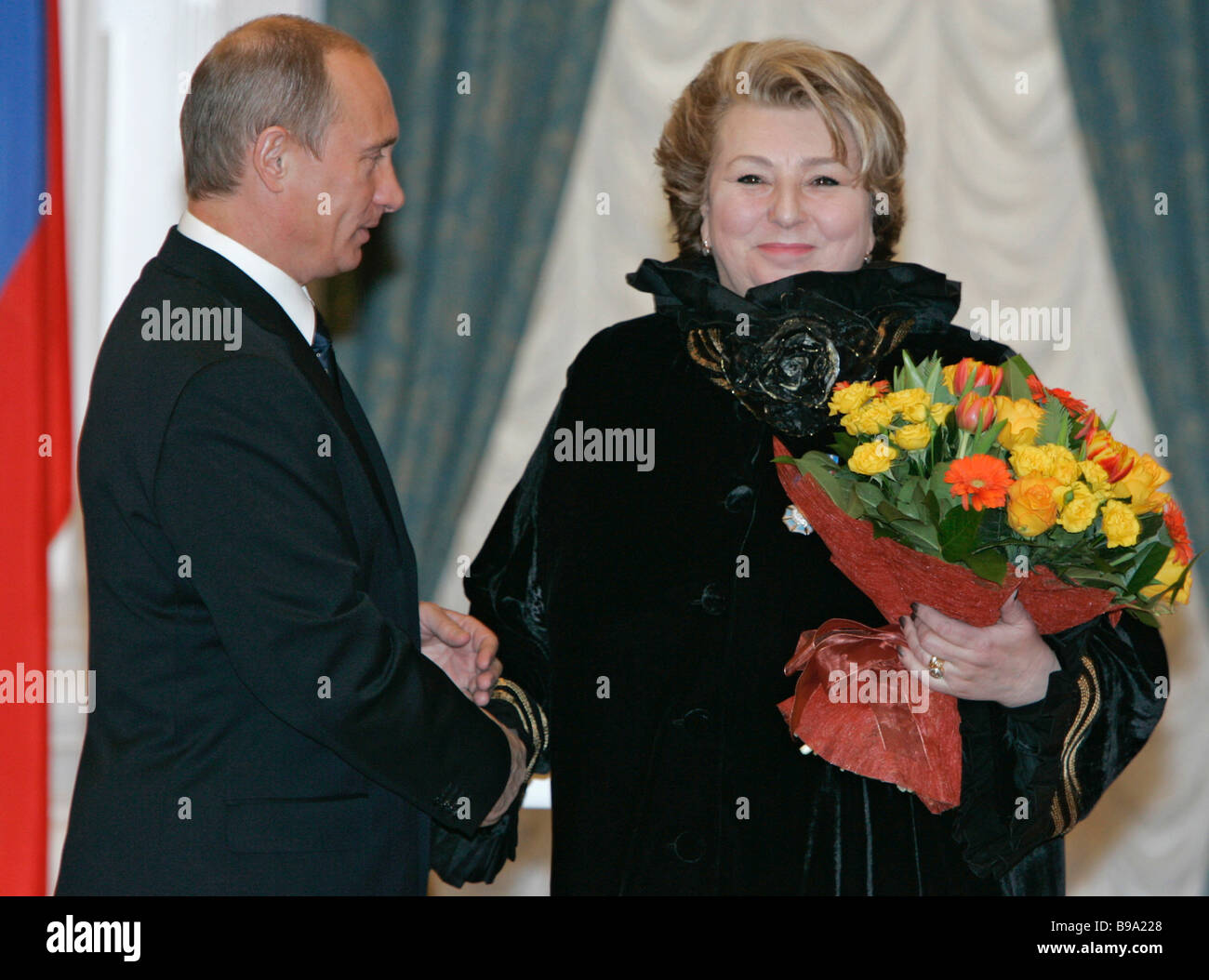 Russian President Vladimir Putin presented the Order of Honor to the coach Tatyana Tarasova the Kremlin - Stock Image