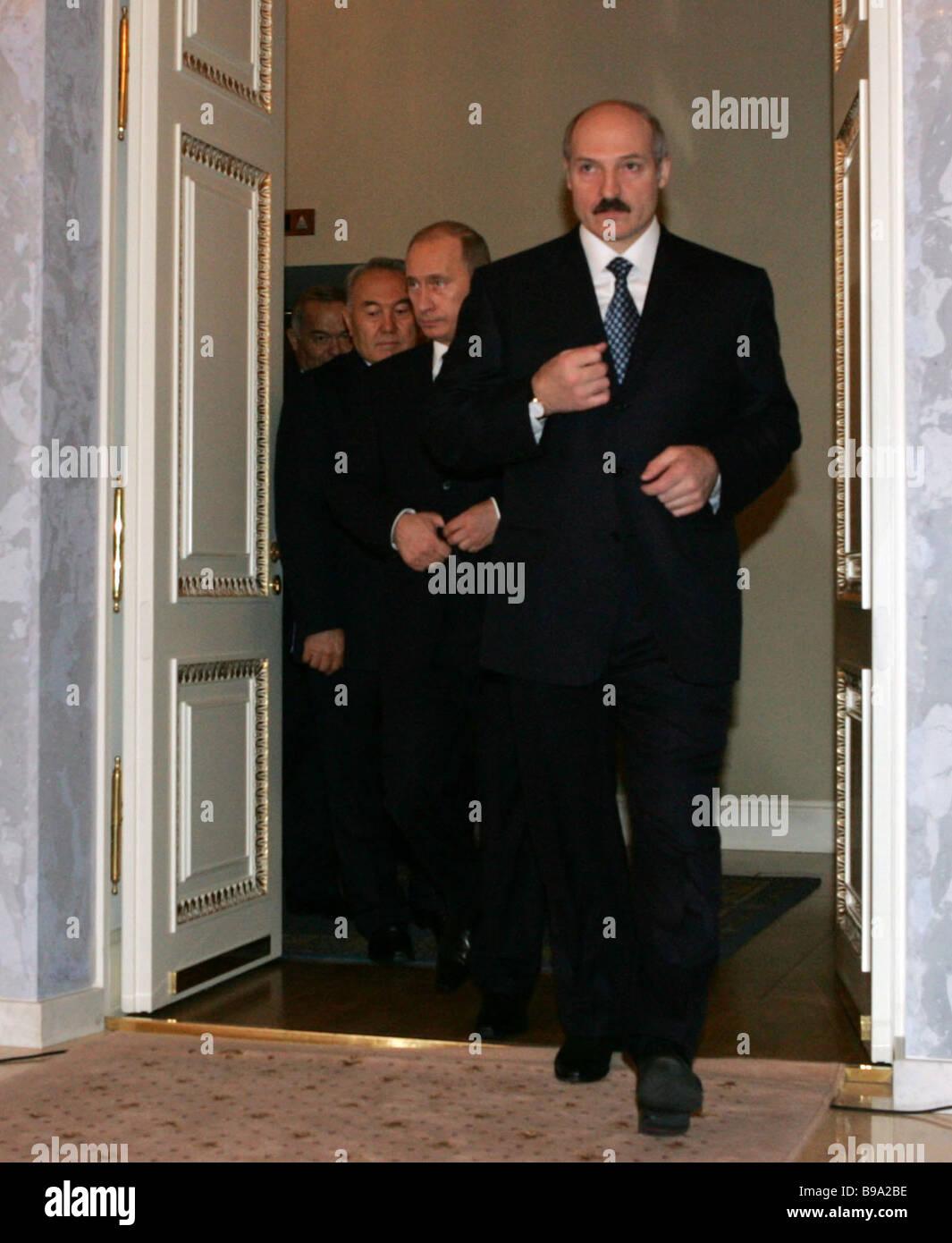 Alexander Lukashenko Belarussian president Vladimir Putin Russian president Nursultan Nazarbayev Kazakh president Stock Photo