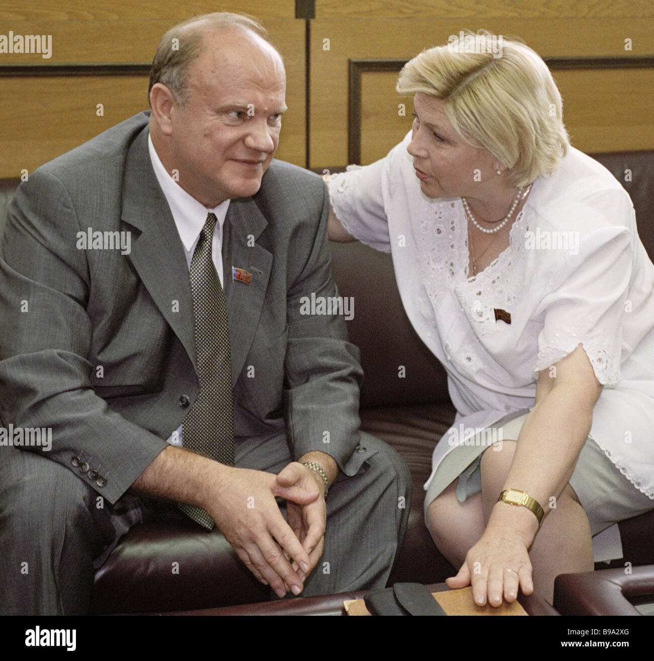 The Russian State Duma adopts the Land Code draft in the second reading Communists Gennady Zyuganov left and Yelena - Stock Image