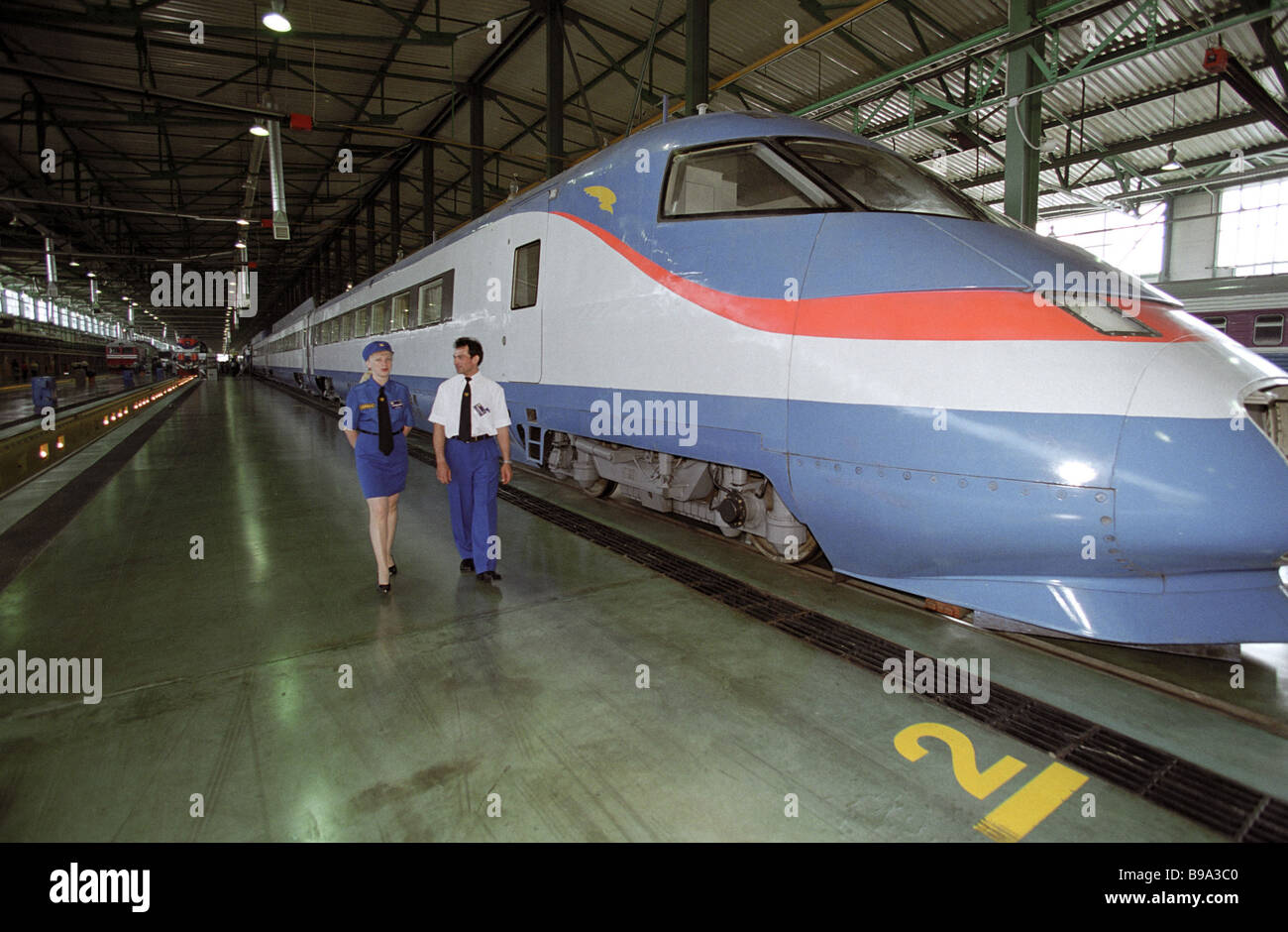 The Sokol 250 high speed electric train at the Russian Railways Today Tomorrow exposition - Stock Image