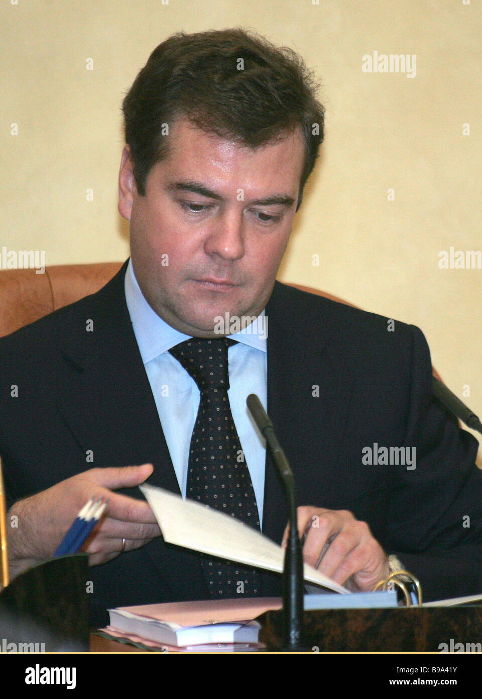 First Vice Premier Dmitry Medvedev at a cabinet session - Stock Image