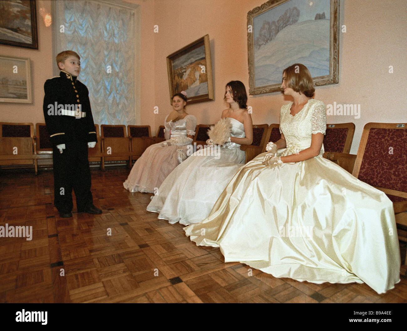 At the dancing party in the Central Russian Army House during days of the customary assembly of naval cadet classes - Stock Image