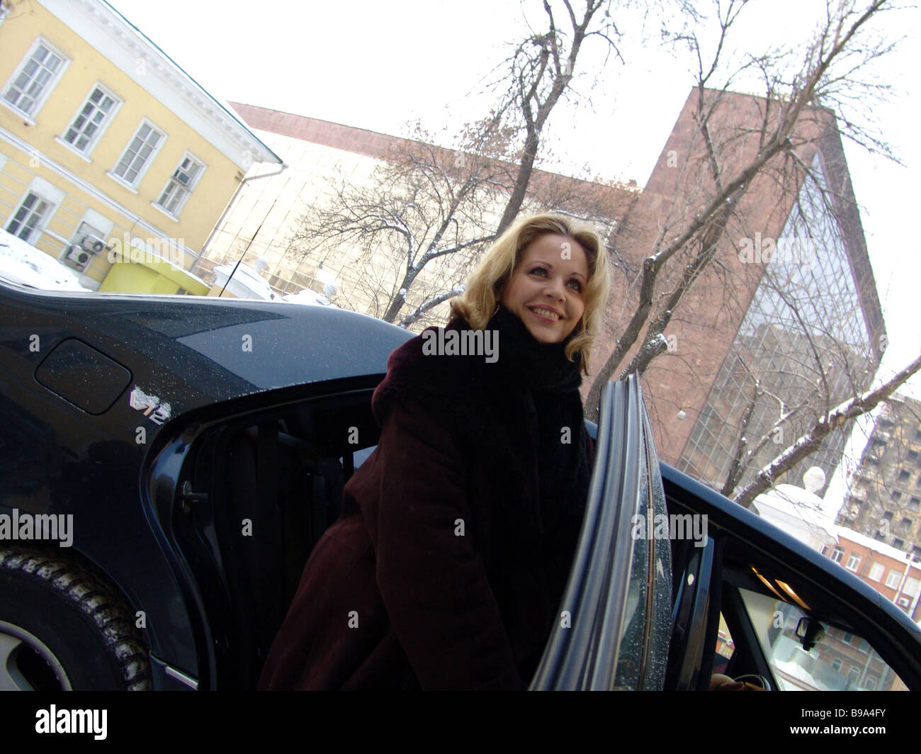 American singer Renee Fleming soprano after the news conference on the concert due in the Conservatory Grand Hall - Stock Image
