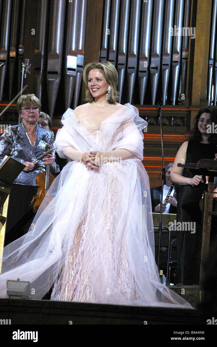 U S singer Renee Fleming soprano at a concert in the Grand Hall of the Moscow Conservatory - Stock Image