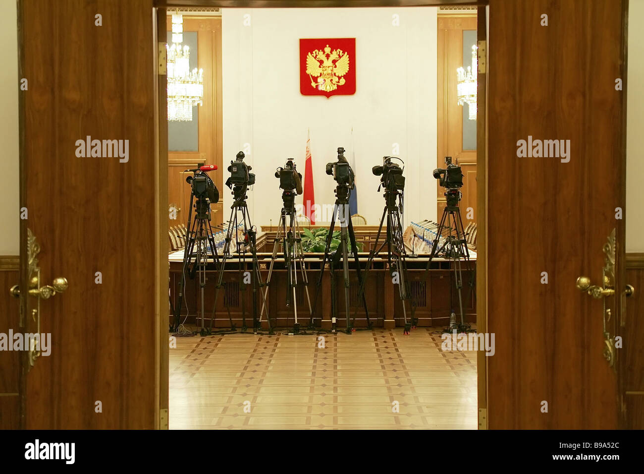 Before talks between Russian and Belarusian Prime Ministers at the Russian Government House - Stock Image