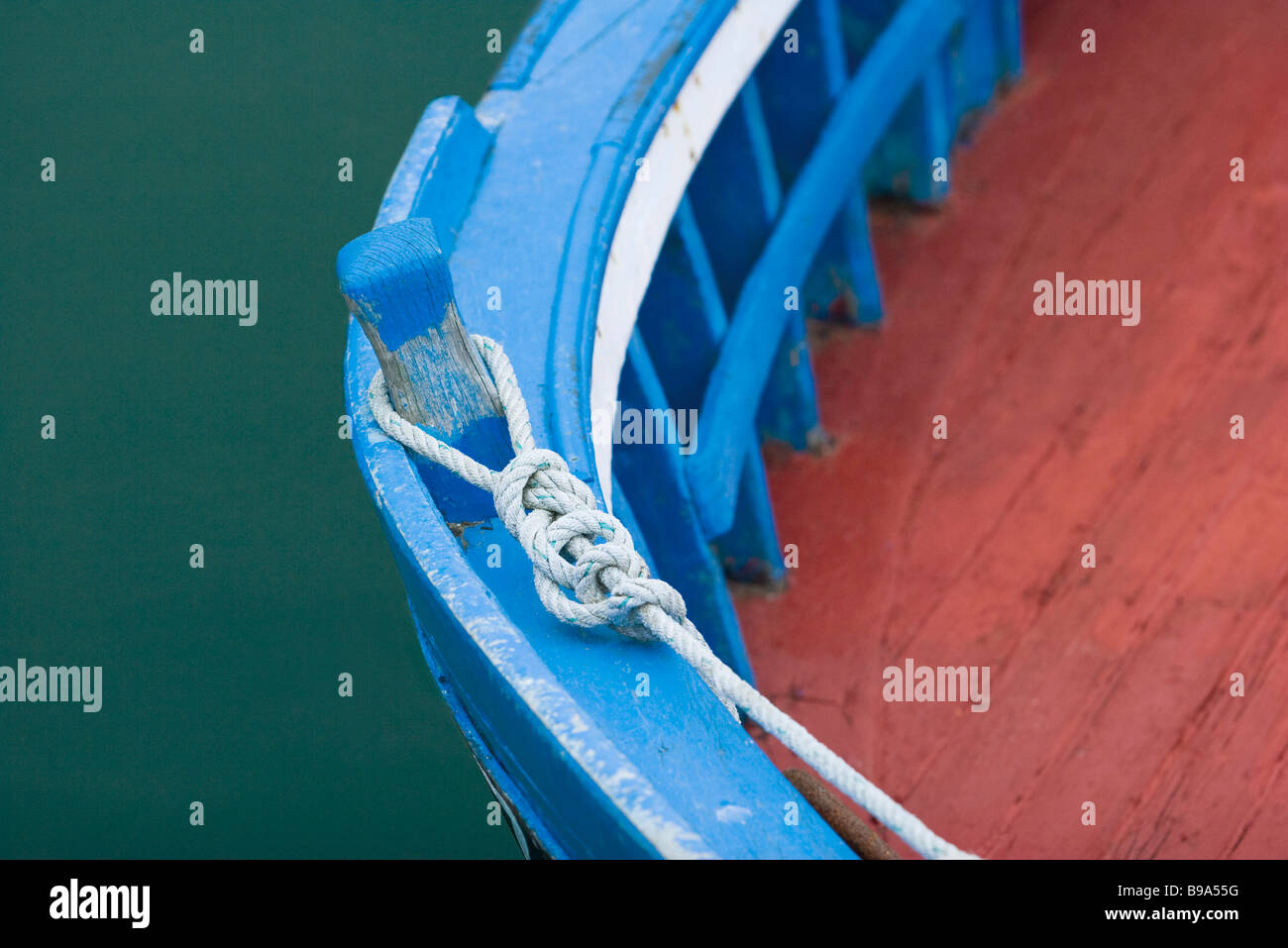 Boat moorings, close-up - Stock Image
