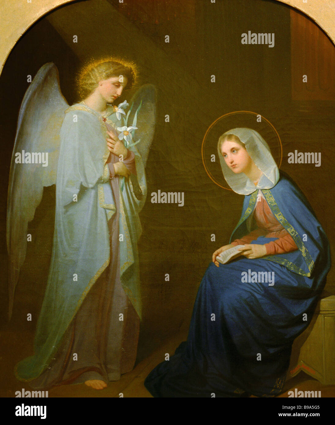 Yakov Kapkov The Annunciation Icon 1852 State Tretyakov Gallery Moscow Exhibited at the exposition The Holy Land Stock Photo