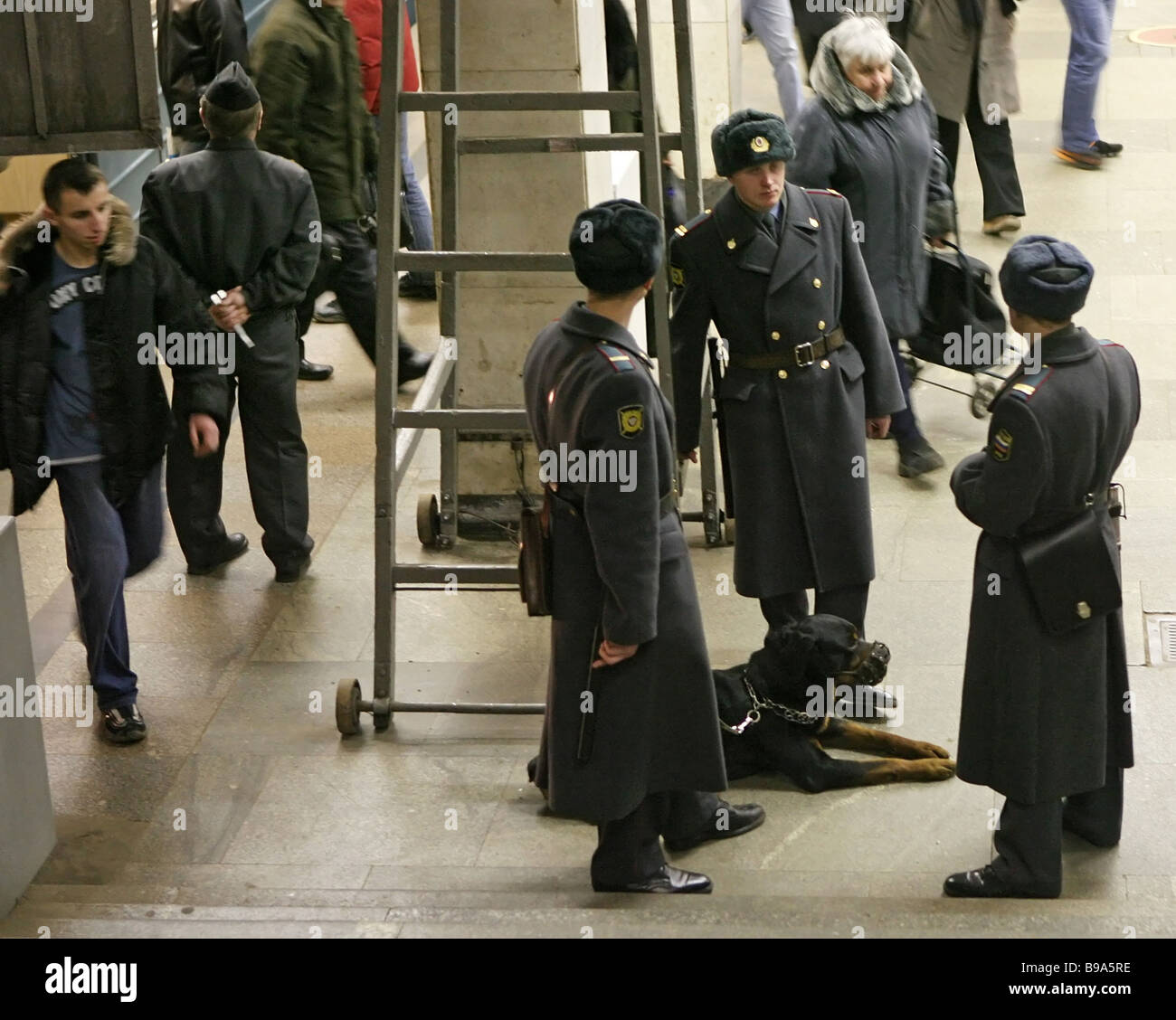 Russia builds up security with terrorist threats circulated A police force on duty at a Moscow subway station - Stock Image