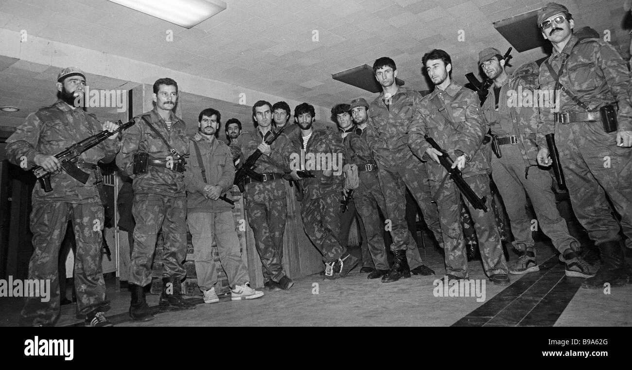Combatants of the Chechen National Guard supporting General Dudayev - Stock Image