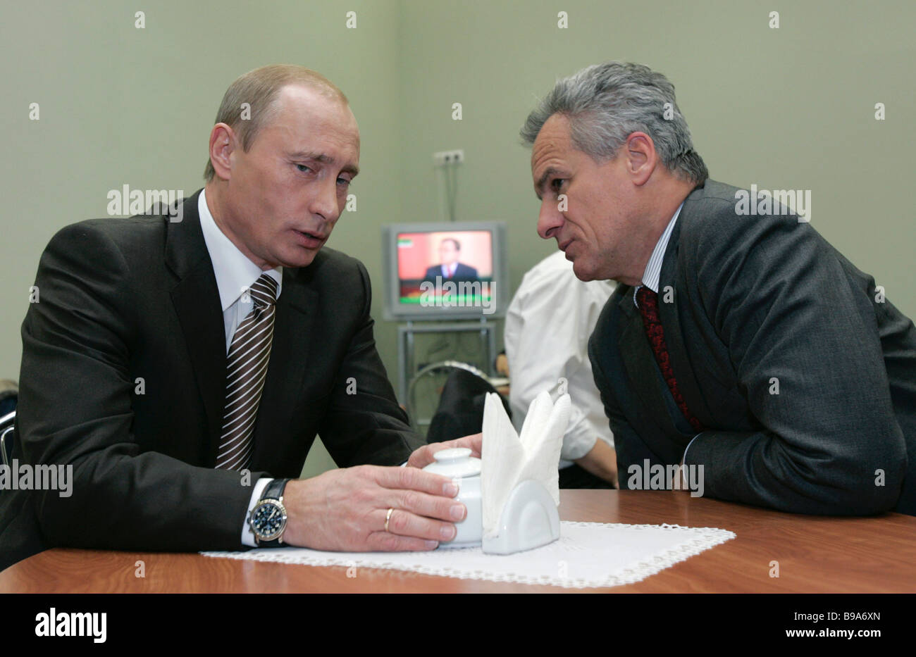 Vladimir Putin the Russian president and Sergei Yastrzhembsky his aide and special representative to the European - Stock Image