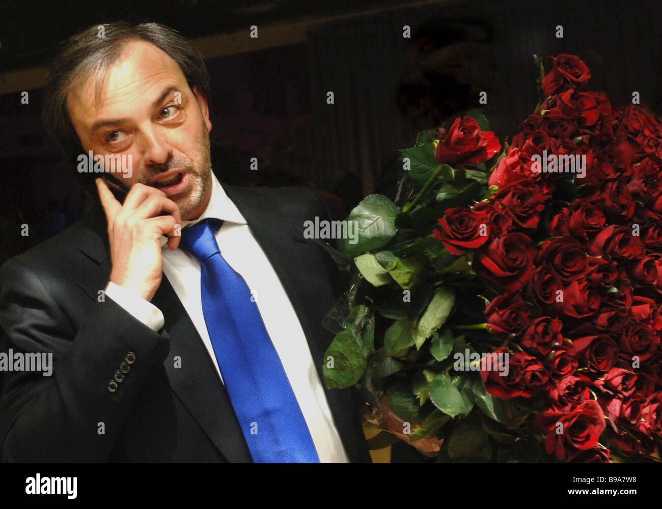 Stage decorator Boris Krasnov president of company Krasnov Design and general director of ceremony hall Forum Hall - Stock Image