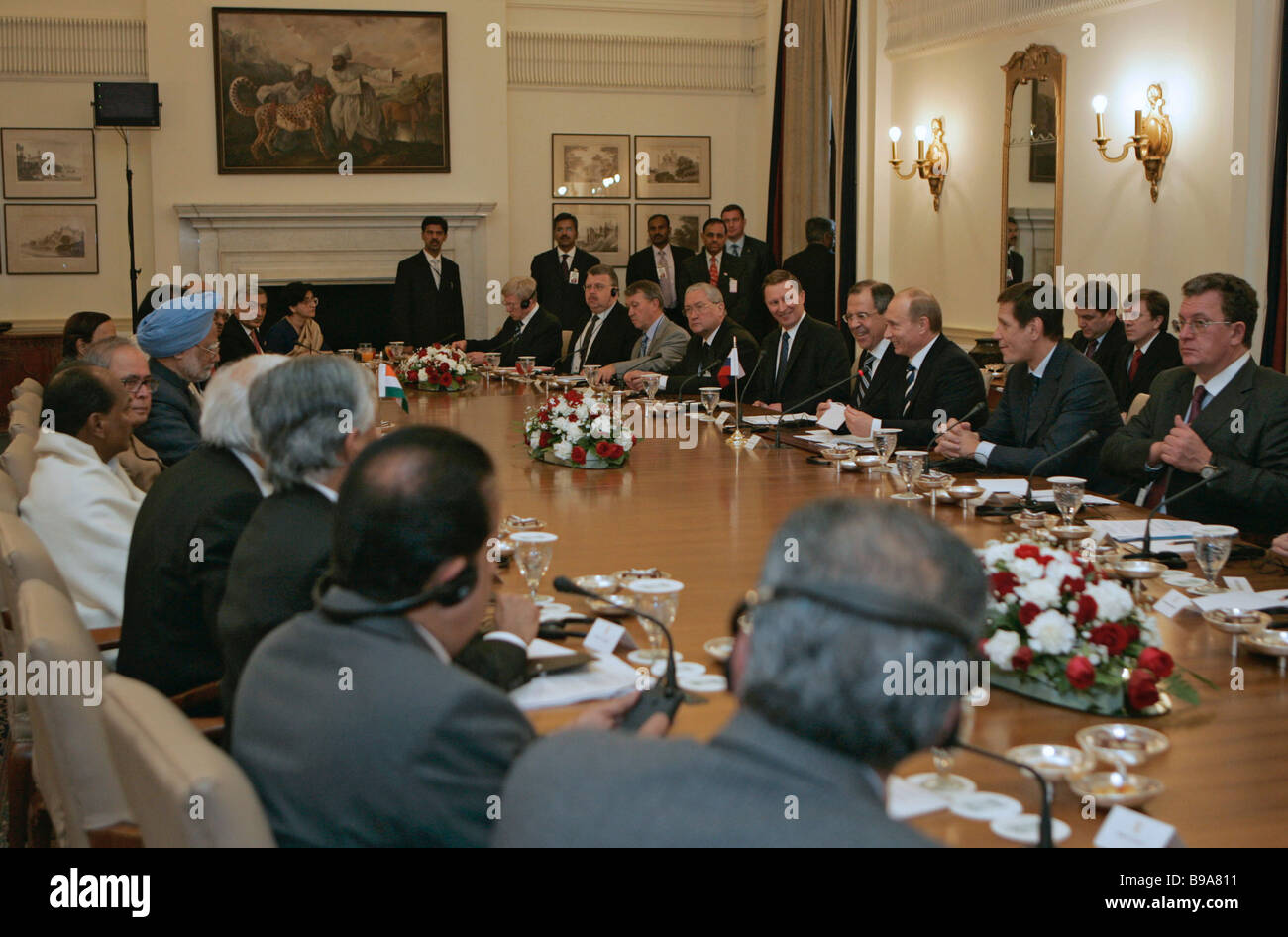Russian Indian talks in the Hyderabad Palace in New Delhi - Stock Image