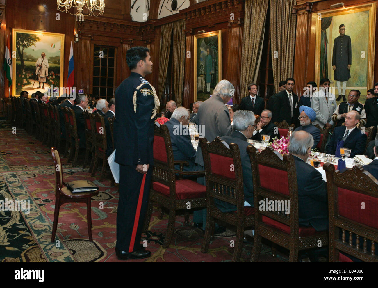 An official reception in honor of the Russian head of state at the Rashtrapati Bhavan official presidential residence - Stock Image