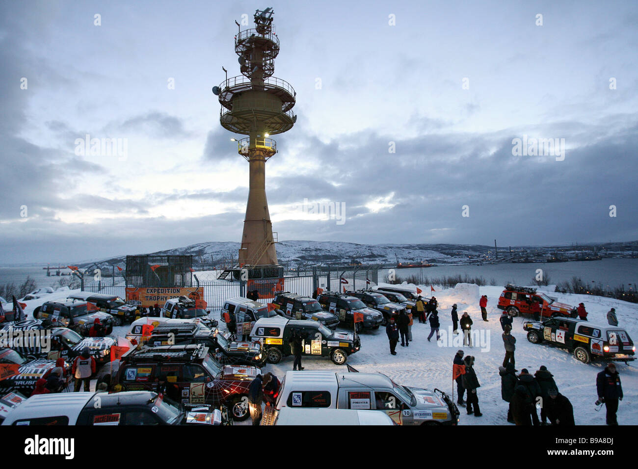 At the second stage of the transcontinental offroader race Expedition Trophy 2006 Murmansk Vladivostok beginning - Stock Image