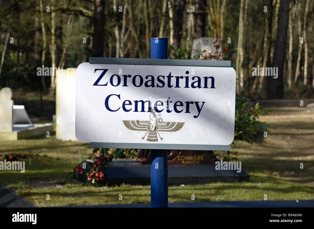 One of the Tata Family Mausoleums, in the Zoroastrian Cemetery beside the Brookwood Military Cemetery, Woking. Stock Photo