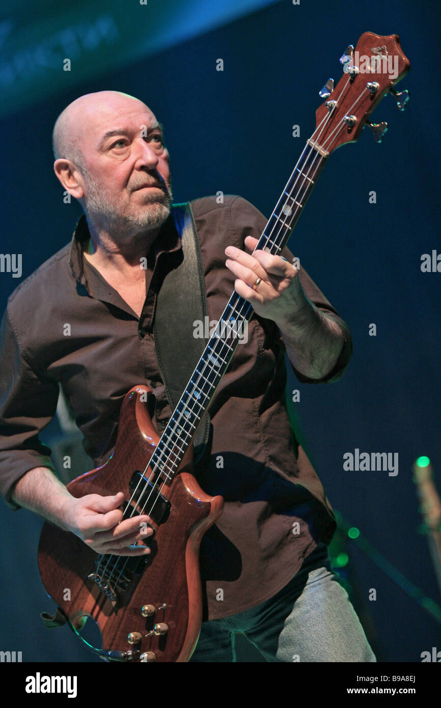 The Nazareth rock group in Murmansk Pete Agnew bassist - Stock Image