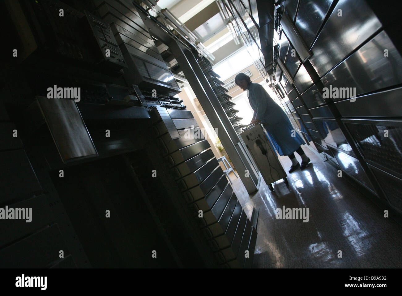 Coordinate based automatic telephone station for connecting subscribers at Petrovsky telephone switchboard - Stock Image