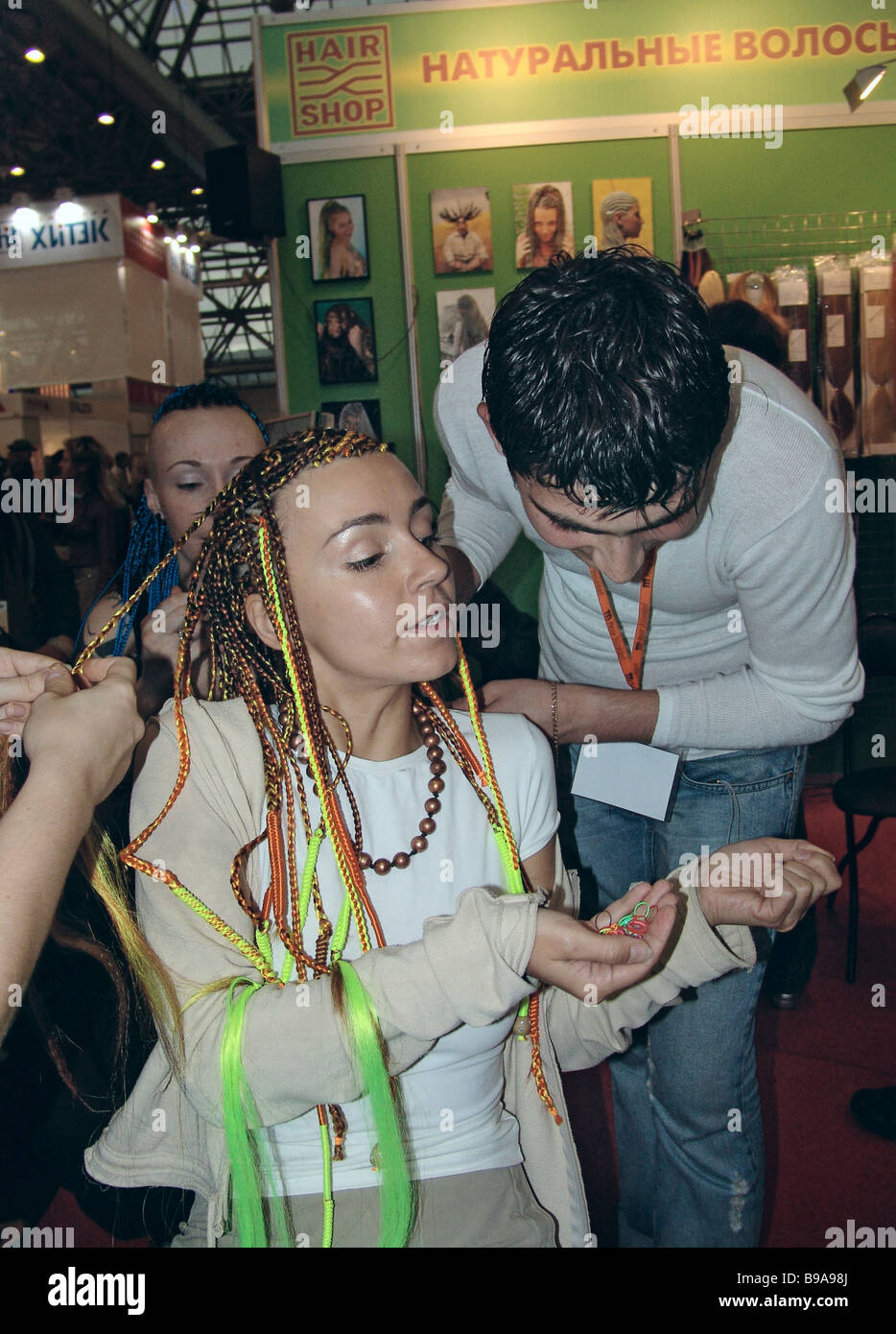 The 31st world championship of hairdressing art and decorative cosmetics is on in Moscow for the first time - Stock Image