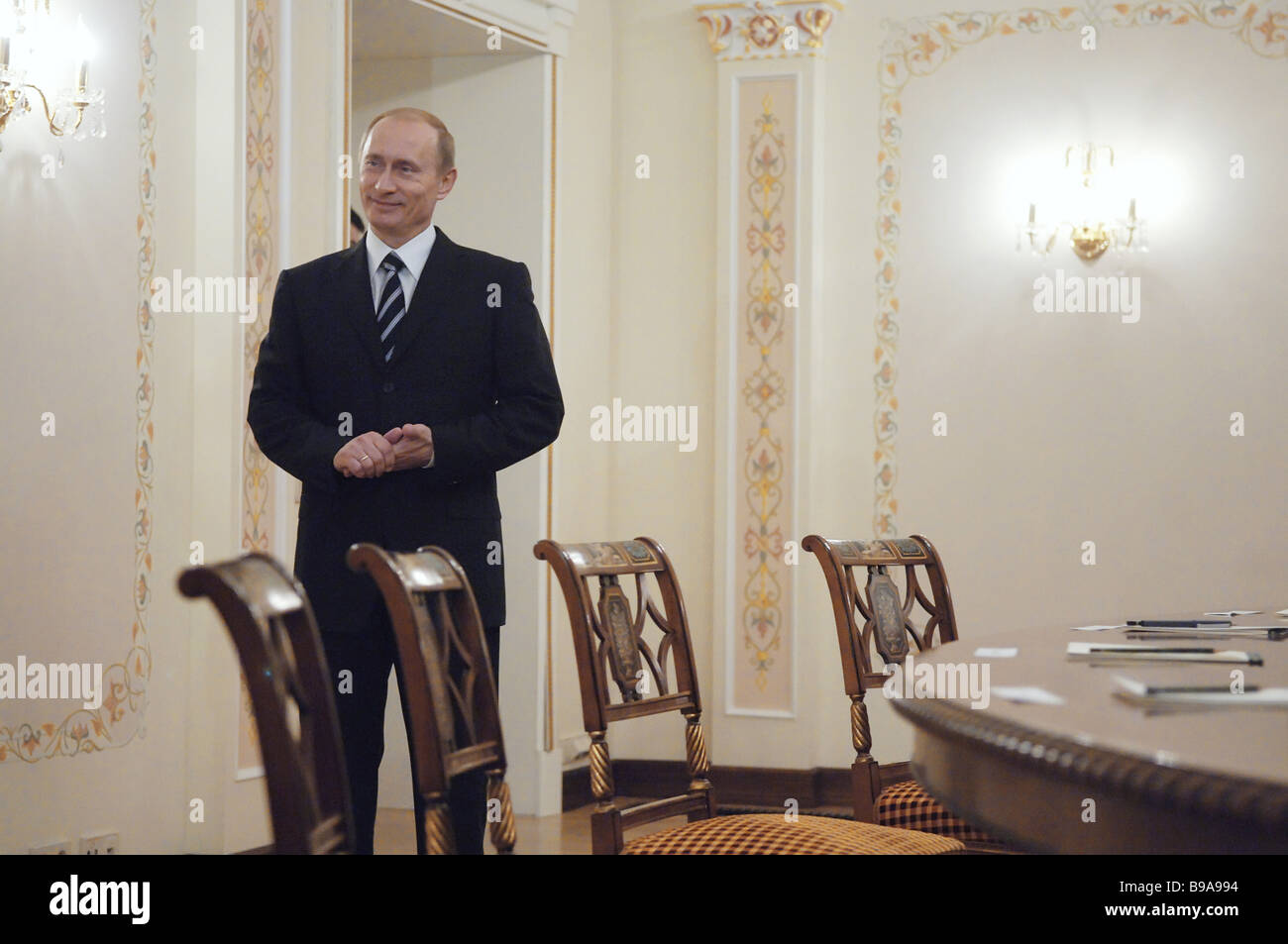 Russian President Vladimir Putin at Novo Ogarevo his country residence near Moscow - Stock Image
