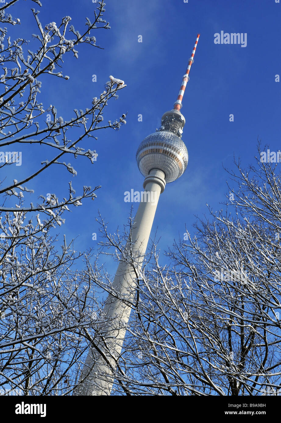 Berlin television tower winter germany - Stock Image