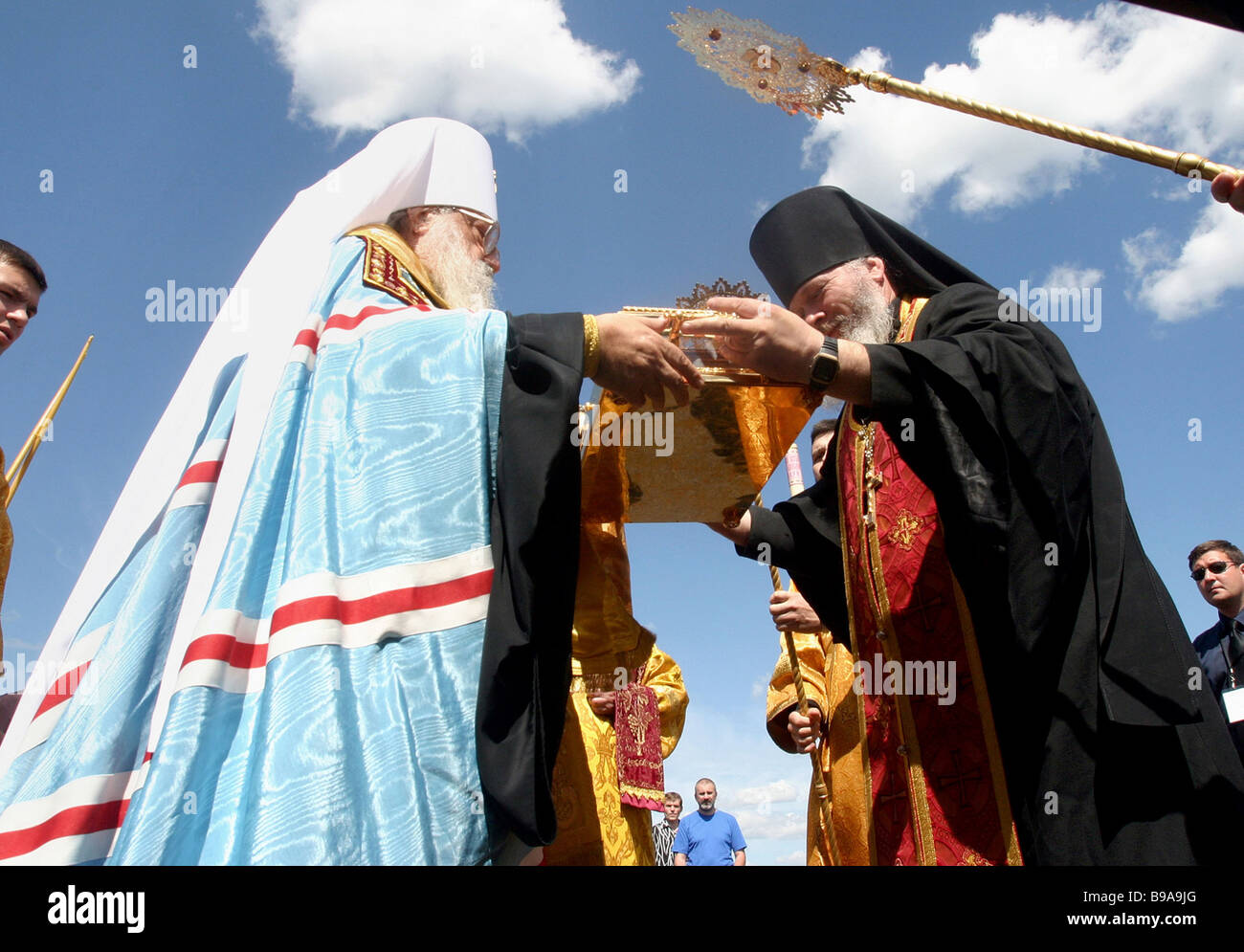 The clergy of Minsk capital of Belarus meet at the city airport the relic case containing the right hand of St John - Stock Image