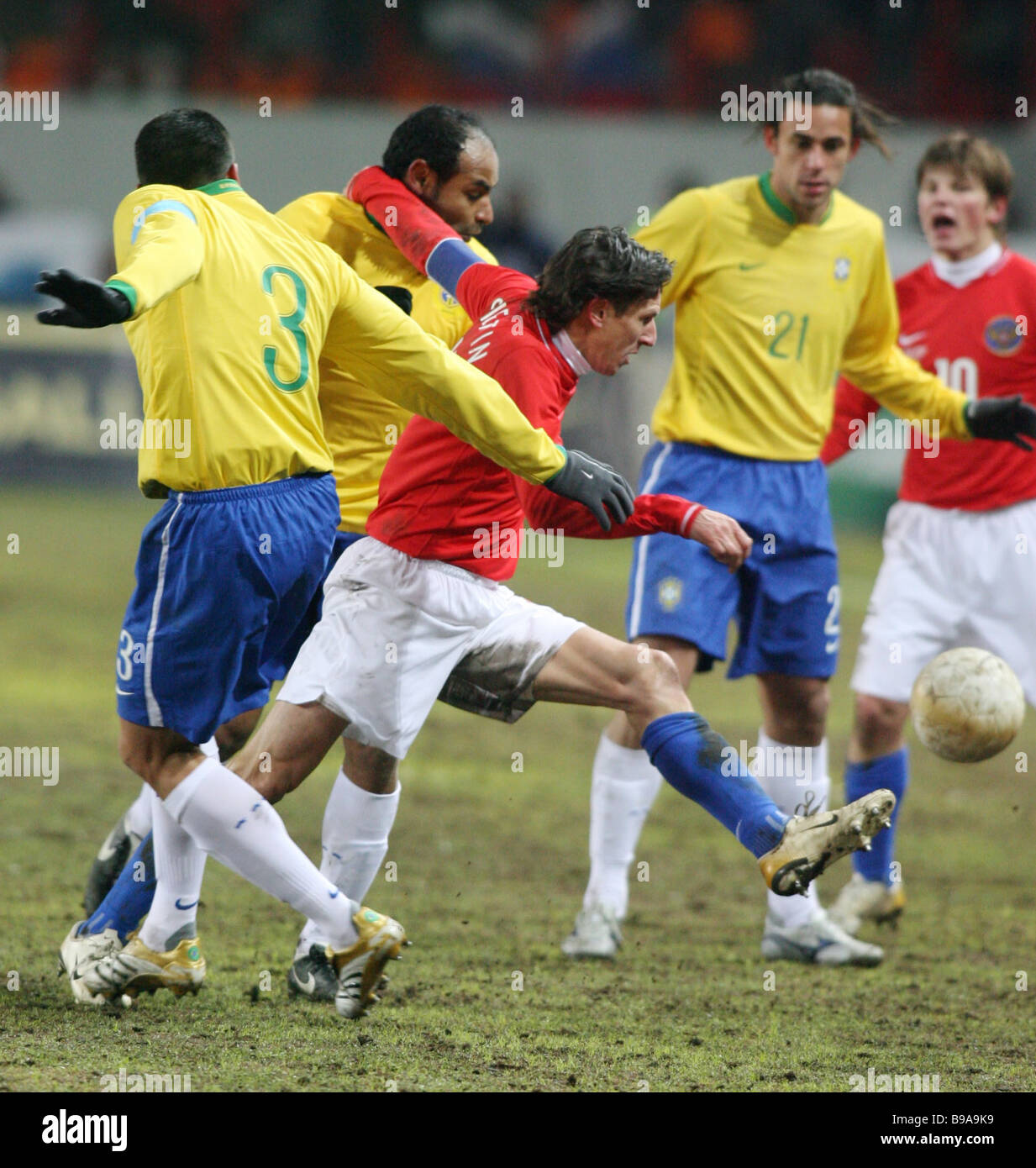 A friendly match between the Brazilian and Russian football teams at the Lokomotiv stadium in Moscow Brazil won - Stock Image