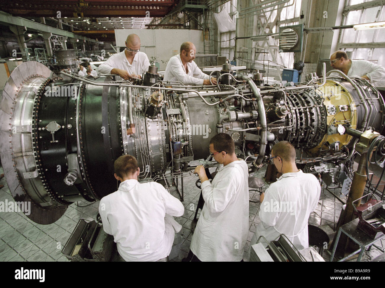 Assembly workshop of OAO Perm Motor Plant turns out gas turbine units for new generation thermal power stations - Stock Image
