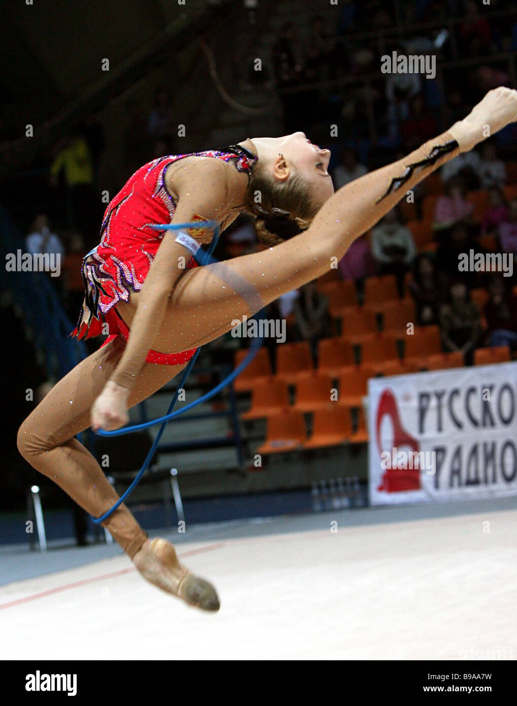 World gymnastics champion Vera Sesina came second in Gazprom Cup of Champions - Stock Image