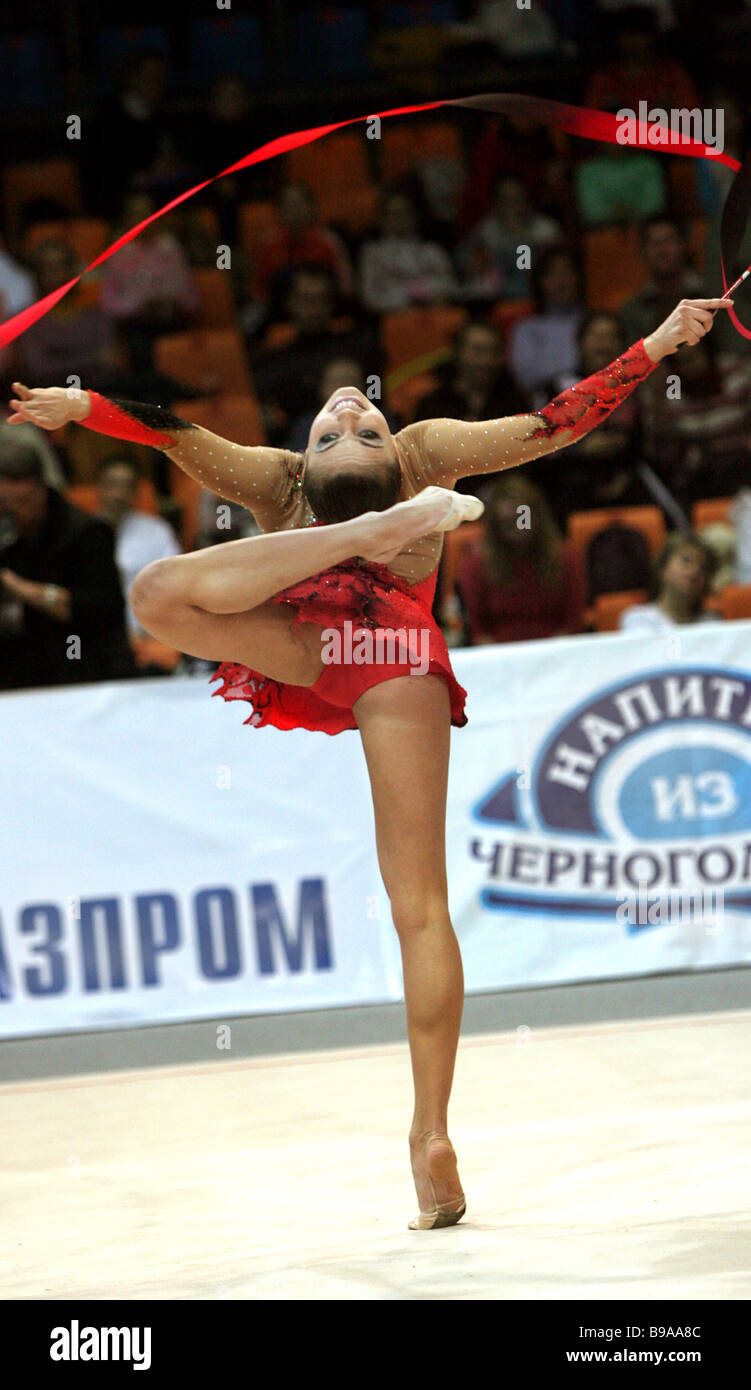 Olympic champion Alina Kabayeva won Gazprom Cup of Champions in gymnastics - Stock Image