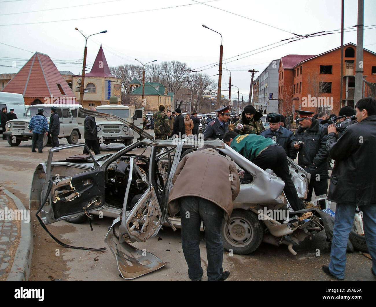 A car explosion in Makhachkala killed Magomed Magomedov deputy head of the criminal police in Dagestan - Stock Image