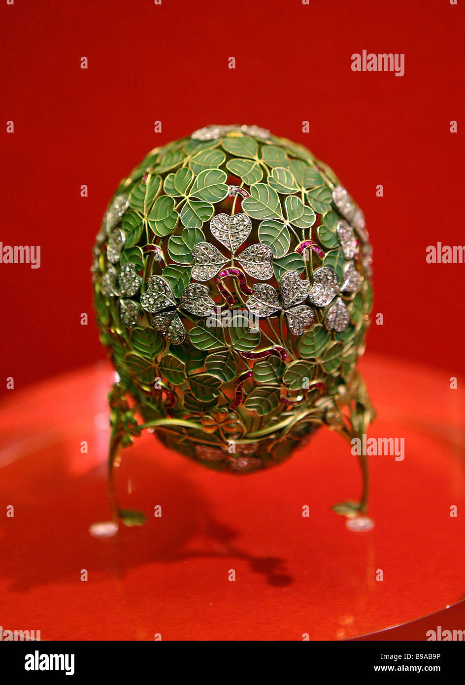 This Clover openwork Easter egg of Faberge Co 1902 is exhibited at the exposition Russian Emperors and the Armory - Stock Image
