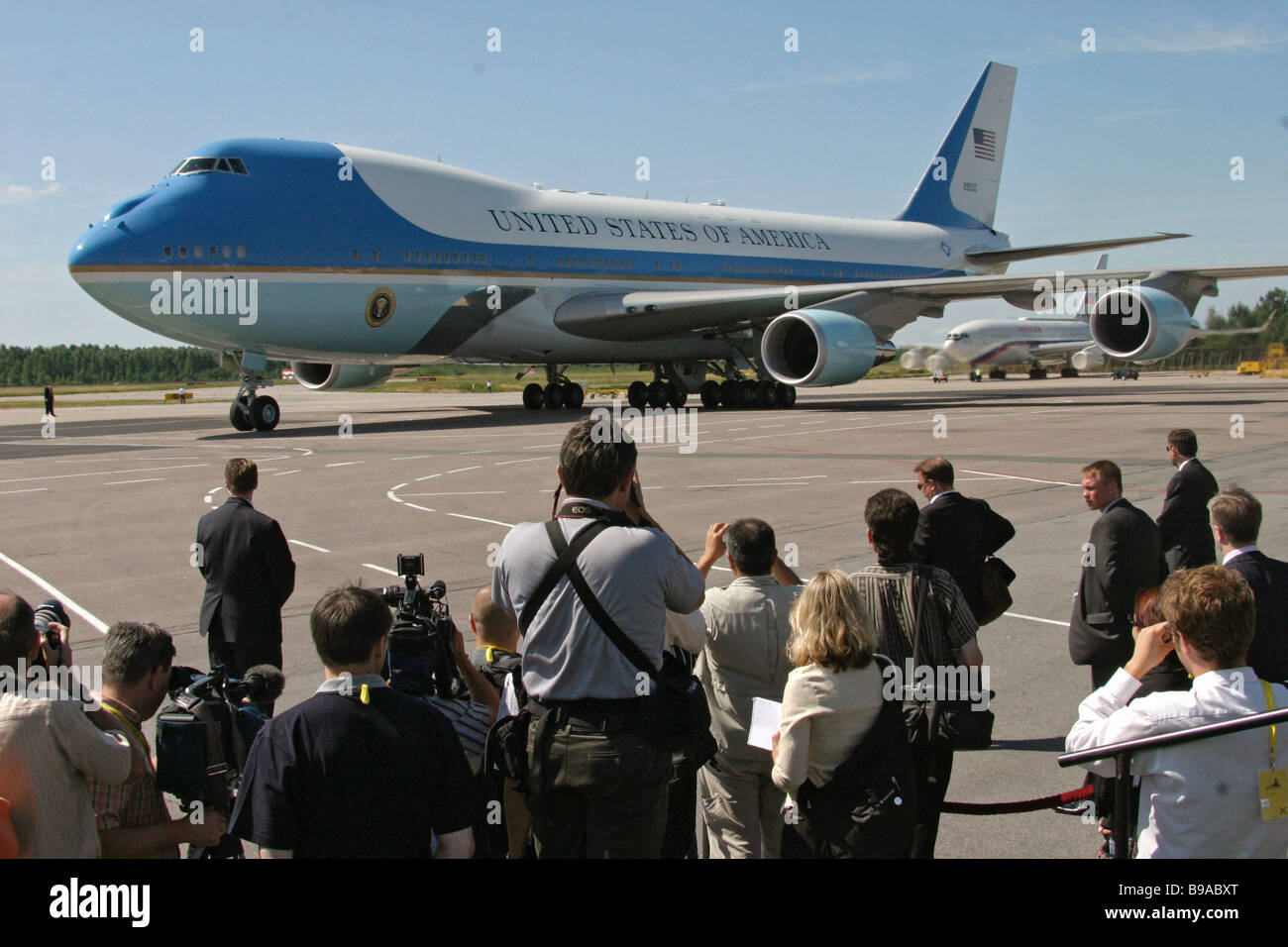 Journalist are ready to meet US President George Bush in St Petersburg airport Pulkovo - Stock Image
