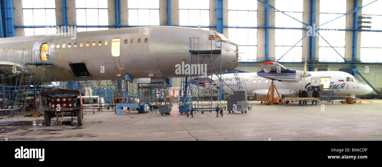 The Samara Aircraft Works is launching AN 140 passenger jet mass production to replace short range AN 24s on Russian - Stock Image